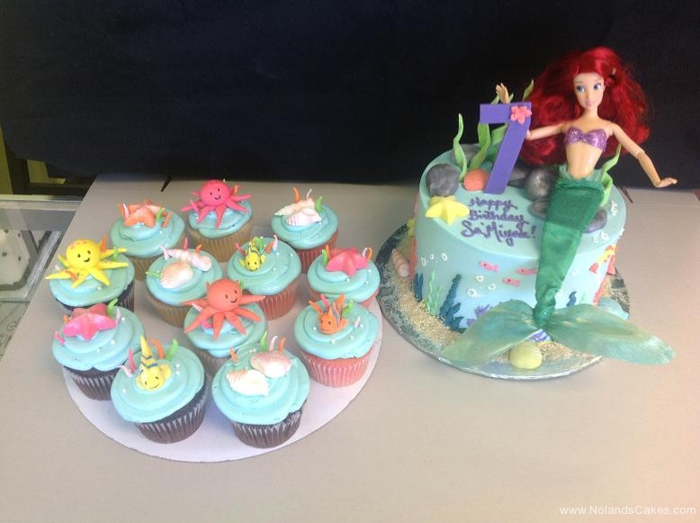 644, ariel, disney, octopus, fish, ocean, under water, sea shells, barbie, under the sea, mermaid, blue, yellow, pink,