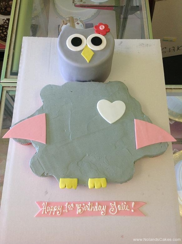 705, owl, grey, pink, heart, first birthday, smash cake, baby girl, bird