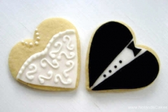 2684, bride, groom, wedding, dress, tux, tuxedo, suit, bow tie, black, white, heart, heart shaped, wedding