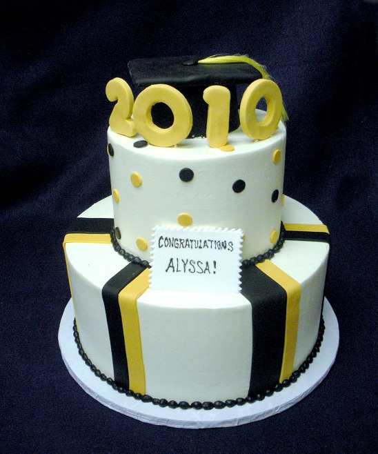 2850, black, gold, white, tiered, two tiered, topper, cap, stripes, dots, polka dots, white
