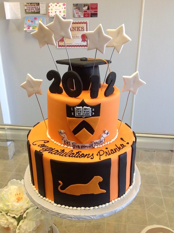 2852, cap, stars, orange, black, topper, crest, university, tiered, two tiered