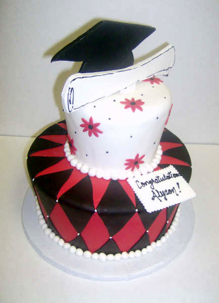 2856, cap, diploma, topper, red, black, argyle, geometric, flowers, white, pink,