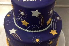 2894, tiered, two tiered, stars, blue, silver, gold, shooting star