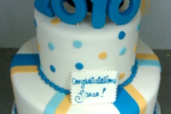 2853, blue, yellow, orange, gold, white, polka dots, cap, topper, tiered, two tiered,