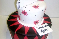 2856, cap, diploma, topper, red, black, argyle, geometric, flowers, white, pink,