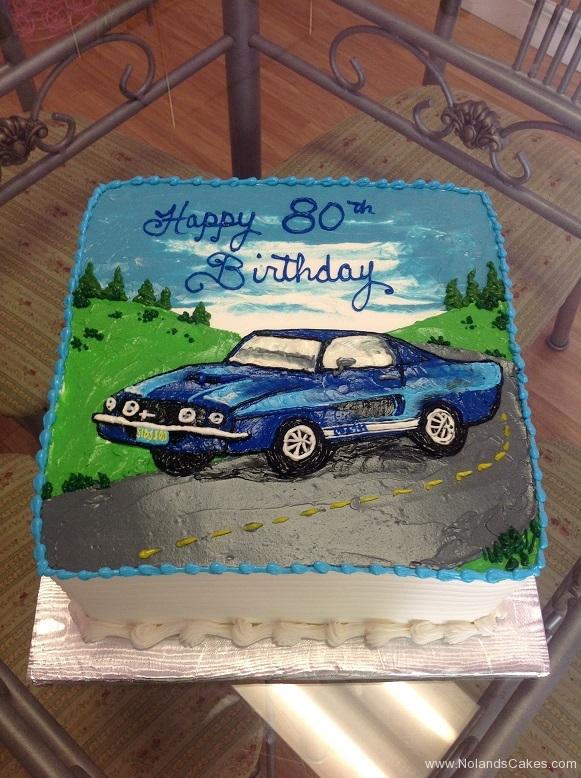 863, car, blue, road, scene, sky, blue, green, classic car, 80th, birthday