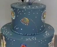 758, tiered, two tier, blue, sky, fireworks, vegas, las vegas, stars, star topper, topper, black and white