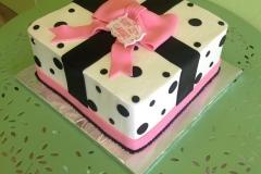 811, black, white, pink, square, polka dots, present, bow, ribbon