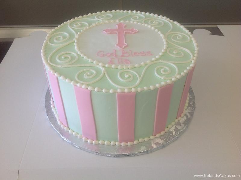 573, baptism, green, pink, white, christian, cross, catholic, girl, cute, stripes, swirls, piping