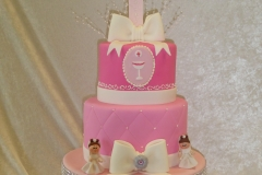 3005, first communion, pink, white, bow, bows, figure, figures, tiered, cross, crosses