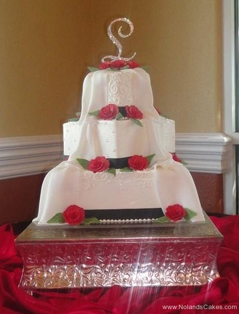 7, drape, veil, white, blanket, red, rose, roses, flowers, white, square, tiered, three tier,  black, ribbon