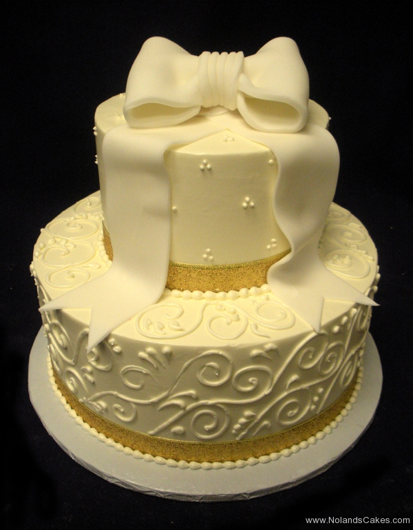 15, bow, topper, white, gold, ribbon, glittery, tiered, two tier, piping, swiss dots