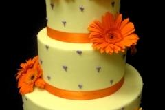 1, daisy, orange, gerber daisy, orange, ribbon, tiered, flower, flowers, fresh flowers, three tiered, purple, cream, off white