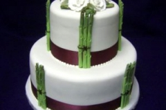 2, asparagus, vegetables, tiered, two tier, green, red, ribbon, white, dark red,