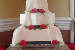 7, drape, veil, white, blanket, red, rose, roses, flowers, white, square, tiered, three tier,  black, ribbon